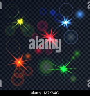 Bright realistic color effect. The poured luminescences with effects a side on a translucent background. Vector - Stock Photo