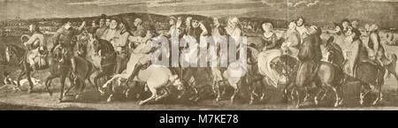 illustration of the Canterbury Tales, The Pilgrimage to Canterbury, Pilgrims on their way to the shrine of Saint - Stock Photo