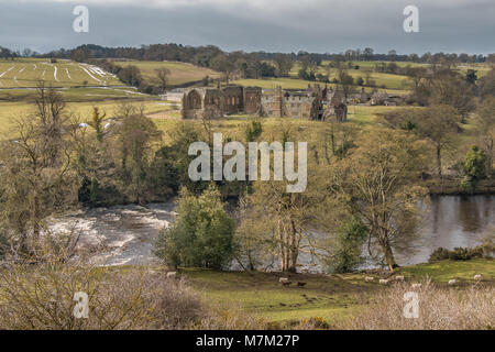 The remains of the Premonstratensian Monastery Egglestone Abbey, Barnard Castle, Teesdale, UK in wintry sunshine - Stock Photo