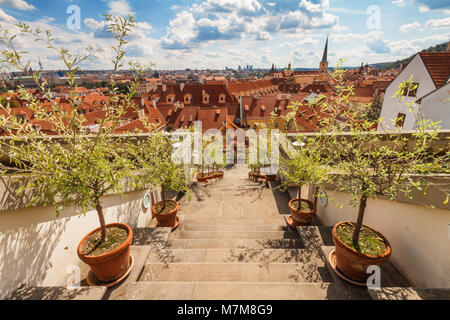 Ledeburg Garden - July 11: The stairway in Ledeburg Garden, the part of complex of Palace Garden beneath Prague - Stock Photo