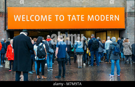 London, UK - March 10, 2018: Entrance to the Tate Modern, a modern art museum in the South Bank of London - Stock Photo