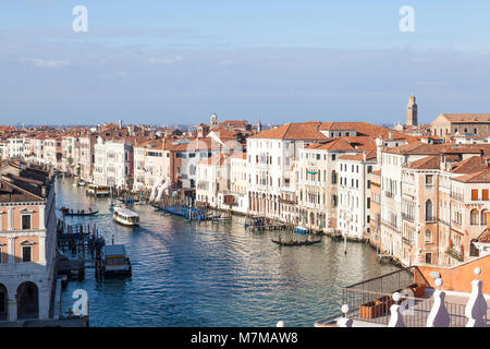 Aerial rooftop view of the Grand Canal and Venice, Italy from the terrace of Fondaco Tedeschi looking down on Cannaregio - Stock Photo