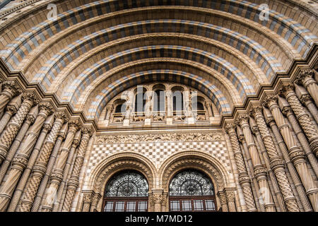 Main door of Natural history museum london diffused light from cloudy winter day - Stock Photo