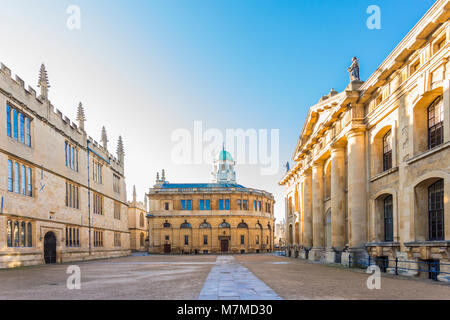 The Sheldonian Theatre, located in Oxford, England, was built from 1664 to 1669 after a design by Christopher Wren - Stock Photo