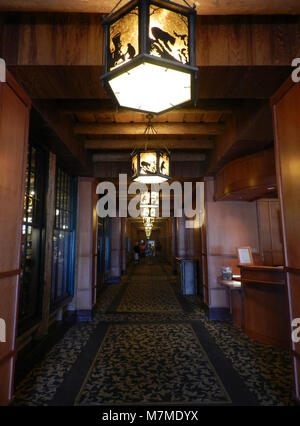 Old Faithful Lodge, hallway  Old Faithful Lodge, hallway with light fixtures; - Stock Photo