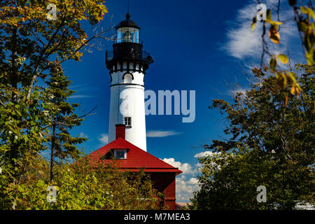 Lighthouse on Lake Superior, Mi - Stock Photo