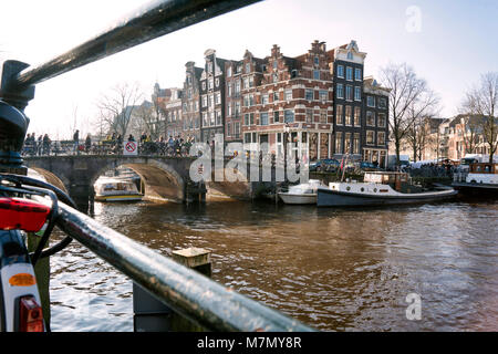 Leaning canal houses on the Prinsengracht / Brouwersgracht, Amsterdam, The Netherlands - Stock Photo