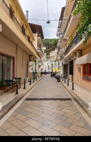 ZAKYNTHOS, GREECE - September 29, 2017: Narrow street in Zante Town. Zakynthos island, Greece - Stock Photo