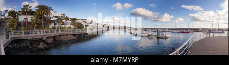 Panoramic view of the harbour at Playa Blanca, Lanzarote, Canary Islands - Stock Photo