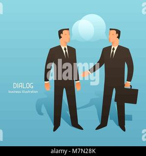 Dialogue business conceptual illustration with talking businessmen. Image for web sites, articles, magazines - Stock Photo