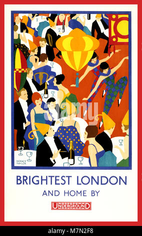 Vintage 1900's London Underground Poster  'Brightest London and home by Underground' by Artist Horace Taylor 1924 - Stock Photo