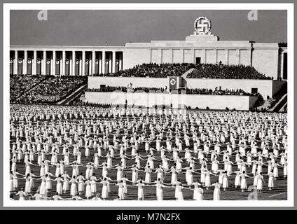 1930's Nazi propaganda image of Nuremberg Rally Reichsparteitag  Realm Party Convention. It was the annual rally - Stock Photo
