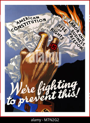 WW2 1940's American propaganda poster 'We're fighting to prevent this'' showing a hand, with Nazi swastika on a - Stock Photo
