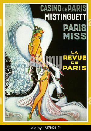 1930's Vintage Historic Old Paris Entertainment Spectacle Travel Poster Casino de Paris - Mistinguett - Paris Miss. - Stock Photo