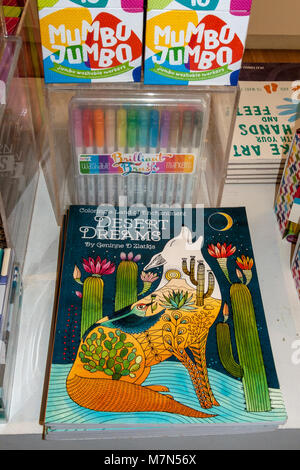 Land Of Enchantment Coloring book with crayons - Stock Photo