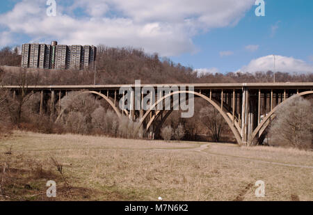 PITTSBURGH, PENNSYLVANIA 3-10-2018 Lower Frick Park on Commercial Avenue - Stock Photo