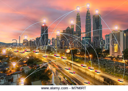 global business Technology GPS transport Use tracking - Stock Photo