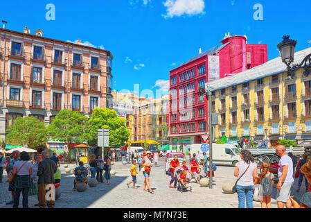 Madrid, Spain- June 06, 2017 : St. Michael's Square (Plaza de San Miguel) wit tourists where is  Market of San Miguel. - Stock Photo