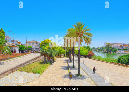 Seville, Spain- June 08, 2017 : View on downtown of Seville and Guadalquivir River Promenade. Spain. - Stock Photo