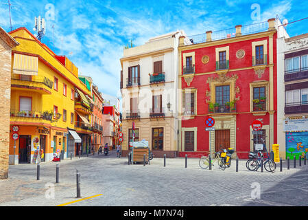 Seville, Spain - June 08,2017: Streets in downtown of the city Seville - is the capital and largest city of the - Stock Photo