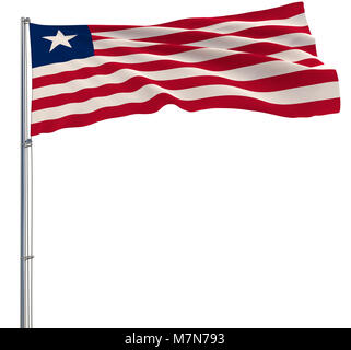 Isolate flag of Liberia on a flagpole fluttering in the wind on a white background, 3d rendering - Stock Photo