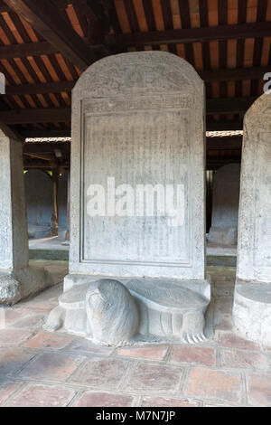 Turtle stone stelae bearing the names of exceptional scholars at the confucian temple of literature, Quoc Tu Giam, - Stock Photo