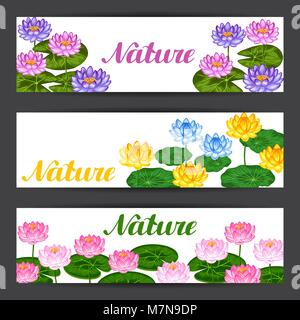 Natural banners with lotus flowers and leaves. Design for cards, flayers, brochures, advertising booklets - Stock Photo