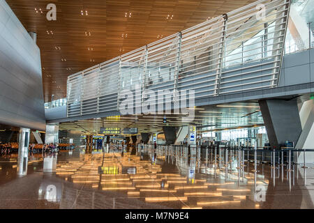 Hamad International Airport in Doha Qatar - Stock Photo