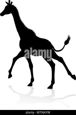 Giraffe Animal Silhouette - Stock Photo