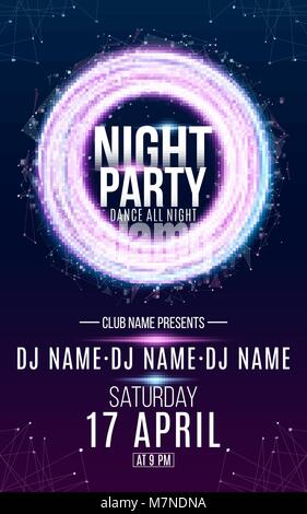 Flyer for night dance party. Round banner of luminous neon swirling lines and small triangles. Name of club and - Stock Photo