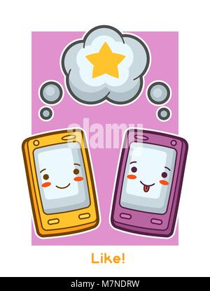 Kawaii gadgets funny card. Doodles with pretty facial expression - Stock Photo