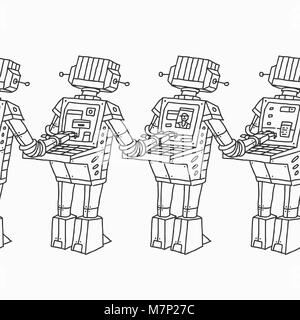 Group of Robots and Personal Computer - Stock Photo