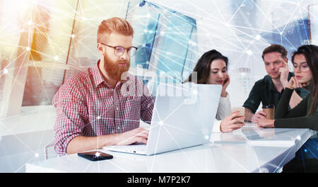 Businessman in office connected on internet network. concept of startup company - Stock Photo