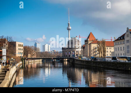 Berlin Mitte  Spree river view with Bode Museum,Television Tower, Ebertbrücke,apartment buildings & riverside path - Stock Photo
