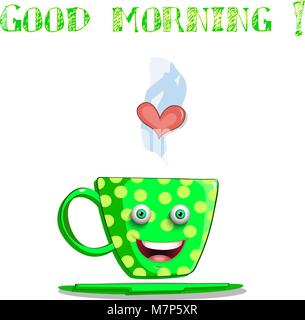 Cute cartoon smiling green female cup with yellow polka dots, eyes and lips and text good morning isolated on white - Stock Photo