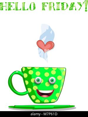 Cute cartoon green smiling cup with yellow polka dots pattern, eyes, lips and text hello friday isolated on white - Stock Photo