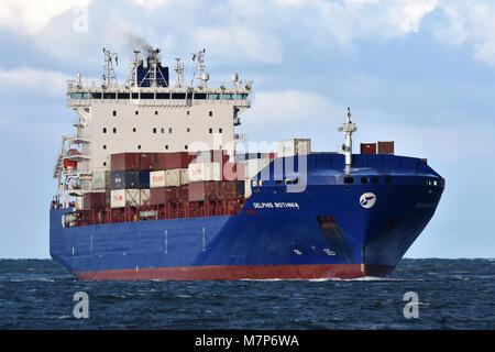 Feedervessel Delphis Bothnia heading for the Kiel Canal - Stock Photo