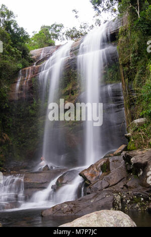 Cachoeira dos Treze Waterfall in Parque Nacional da Serra dos Orgaos in Petropolis, Rio de Janeiro, Brazil - Stock Photo