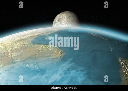 3D rendering of the moon rising over Earth horizon - Stock Photo