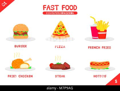 Set of fast food menu burger pizza french fries fried chicken steak and hot dog, Flat vector isolated icon on white - Stock Photo