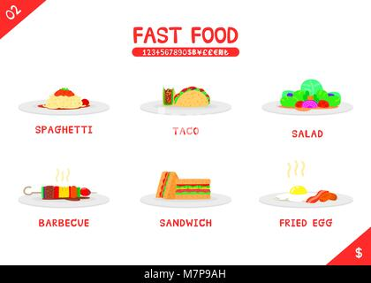 Set of fast food menu spaghetti taco salad barbecue sandwich and fried egg, Flat vector isolated icon on white background, - Stock Photo