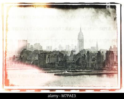 Retro photo. View of Manhattan - Stock Photo