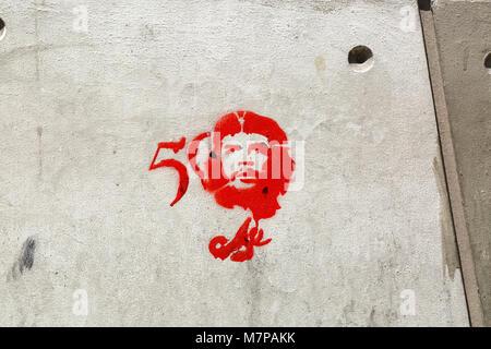 Graffiti commemorating the 50th anniversary of Che Guevara's death on a wall in La Paz, Bolivia - Stock Photo