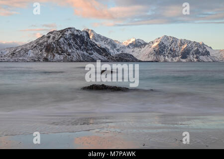 Haukland Beach, Lofoten; Norway; Europe; - Stock Photo