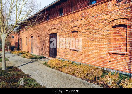 old red brick barn with wooden door surrounded by leafless vines - Stock Photo