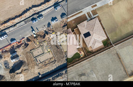 Drone Aerial View Cross Section of Home Construction Site. - Stock Photo