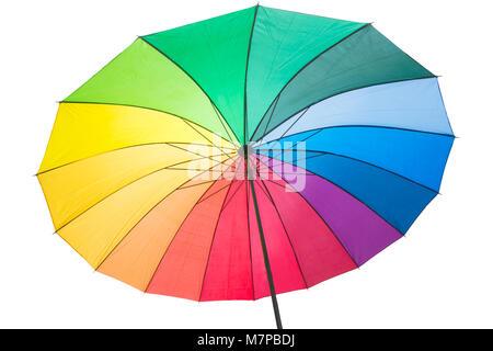 Isolated rainbow coloured umbrella with vibrant colours. - Stock Photo