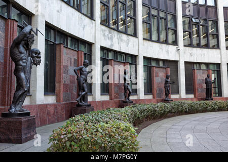 St. Petersburg, Russia - September 17, 2015: Sculptures in front of the new building of the National Library of - Stock Photo