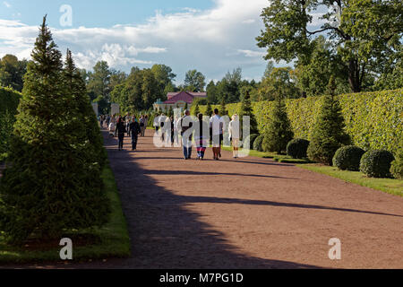 Oranienbaum, Russia - August 29, 2015: People walking in the Lower park of Oranienbaum palace. Founded in 1710-1727, - Stock Photo