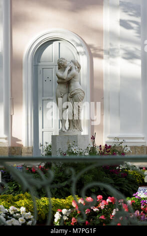 Oranienbaum, Russia - August 29, 2015: Sculpture Cupid And Psyche at the Chinese Palace in Oranienbaum Garden. Built - Stock Photo